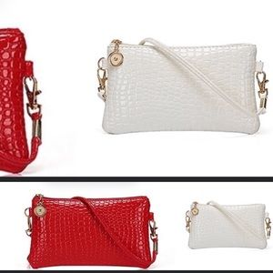 2 New Faux White  And Red Crossbody Bags